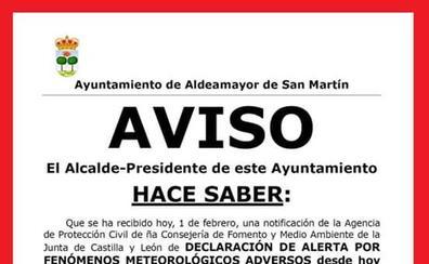 Aldeamayor avisa a sus vecinos de «fenómenos meteorológicos adversos» y les aconseja «tomar precauciones»