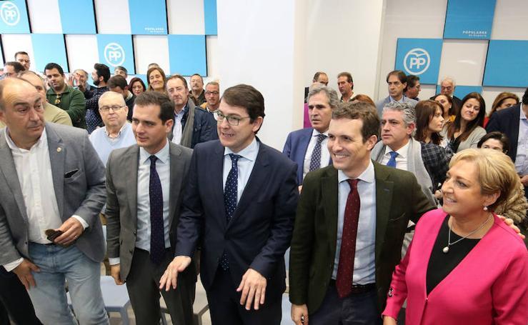 El líder del PP, Pablo Casado, celebra un acto en Segovia