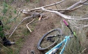 'Trampa mortal' para ciclistas y motoristas: colocan cables y troncos entre Carbonero y Bernardos