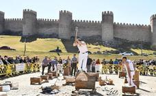 Gabarreros a los pies de las murallas de Ávila