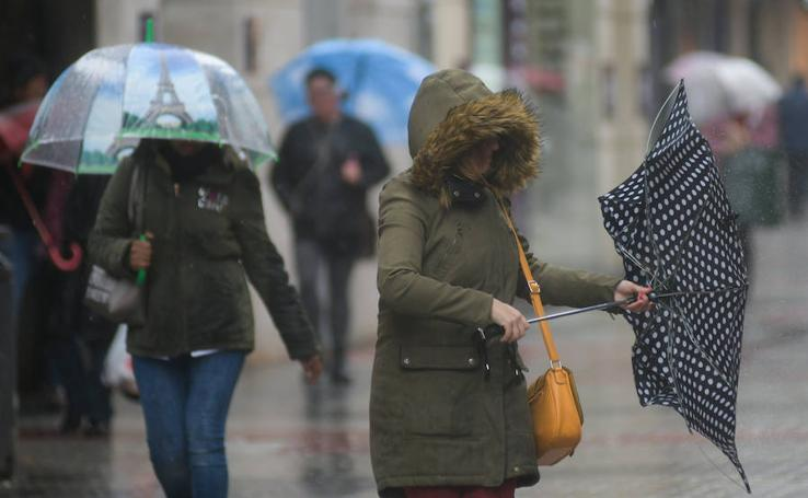 Lluvia y viento en Valladolid