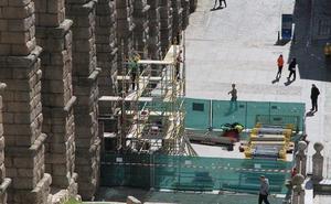 El andamiaje para retirar la Virgen del Acueducto alcanzará 24 metros en su parte más alta