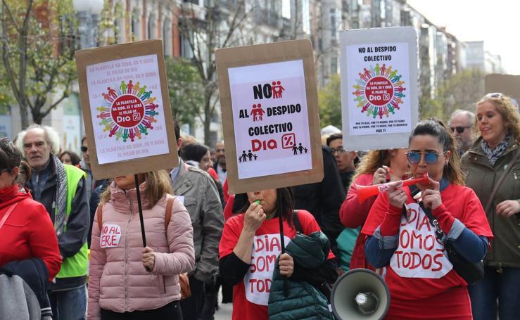 Manifestación en Valladolid de los trabajadores de DIA