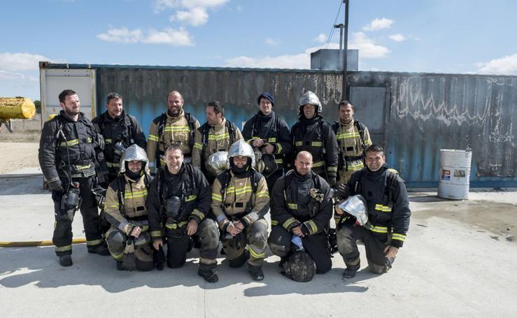 Entrenamiento de los bomberos de Valladolid