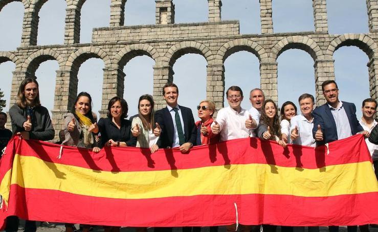 El líder del PP, Pablo Casado, de visita por Segovia