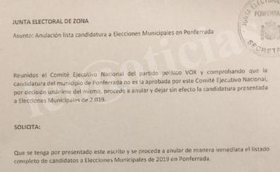 Vox retira su candidatura a las elecciones municipales en Ponferrada