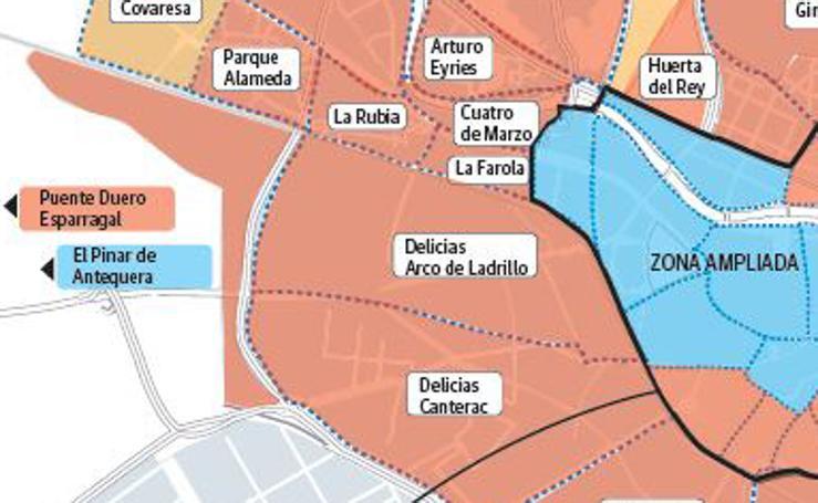 Partido más votado en los barrios por Valladolid