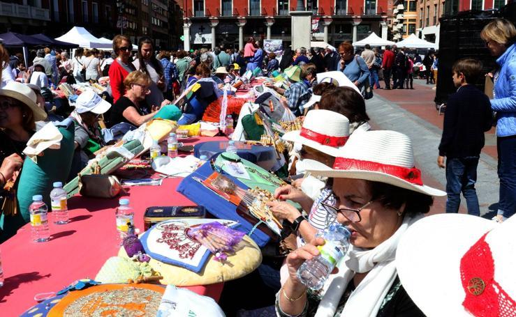 Tercer encuentro de bolillos y vainicas en la Plaza Mayor de Valladolid