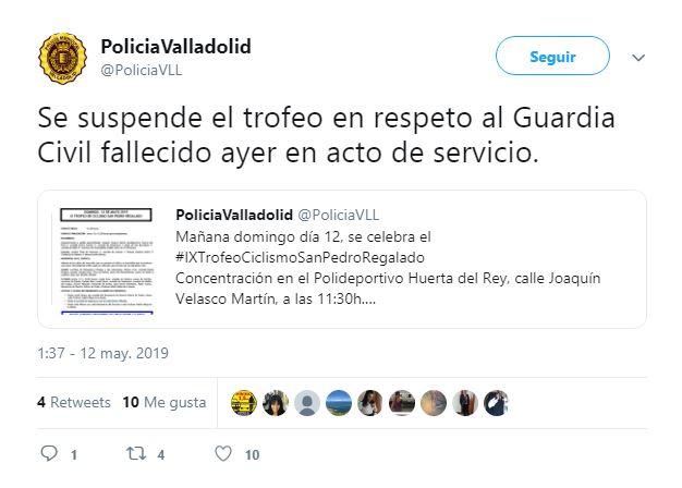 Suspenden el IX Trofeo de ciclismo de San Pedro Regalado en respeto al Guardia Civil fallecido