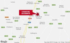 Una persona resulta herida tras salirse de la vía un vehículo en Támara de Campos