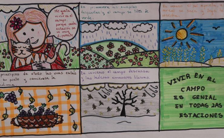 Trabajos de 5º de Primaria en la modalidad de cómic del III Concurso de Dibujo y Cómic 'La vida del campo'