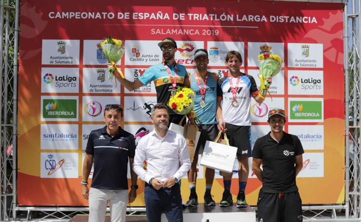 Llegada y podio del Campeonato de España de Triatlón de Larga Distancia en Salamanca