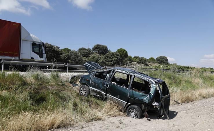 Tres heridos en una accidente de tráfico en la carretera N-122 en Valladolid