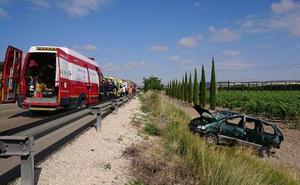 Tres heridos en un accidente de tráfico en la carretera N-122 en Valladolid
