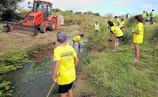 Mayorga recupera dos fuentes del municipio con voluntarios