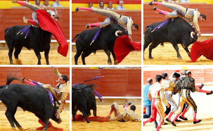 La cogida de Paco Ureña en la Plaza de Toros de Palencia
