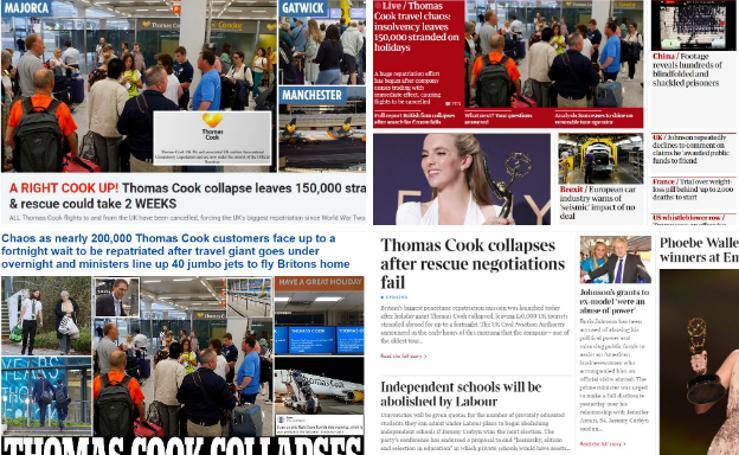 Así ve la prensa británica el colapso de Thomas Cook