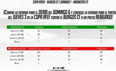 El Salamanca CF UDS fija altos precios para el derbi ante Unionistas en el que también pagarán sus abonados