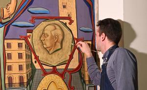 Comienzan los trabajos para retirar la imagen de Franco del mural del salón de plenos del Ayuntamiento de Salamanca