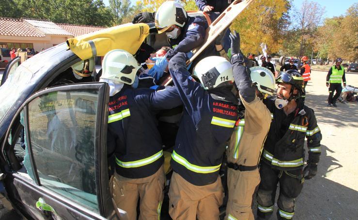 Impactante simulacro de accidente en La Granja