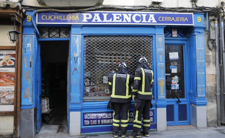 Aviso de derrumbe en la calle Barrio y Mier de Palencia