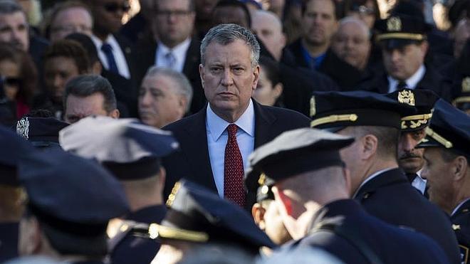 La Policía da la espalda al alcalde de Nueva York en el homenaje a los agentes asesinados