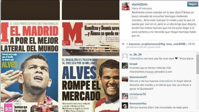 Alves niega su marcha al PSG llamando 'borregos' a la prensa