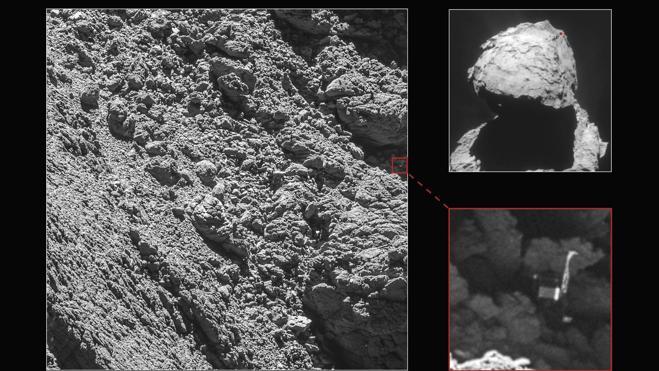 Rosetta descenderá sobre una región de fosas activas en la cabeza del cometa