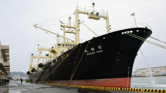 Japanese whaling vessel the Nisshin Maru returns to the Shimonoseki port in southwestern.