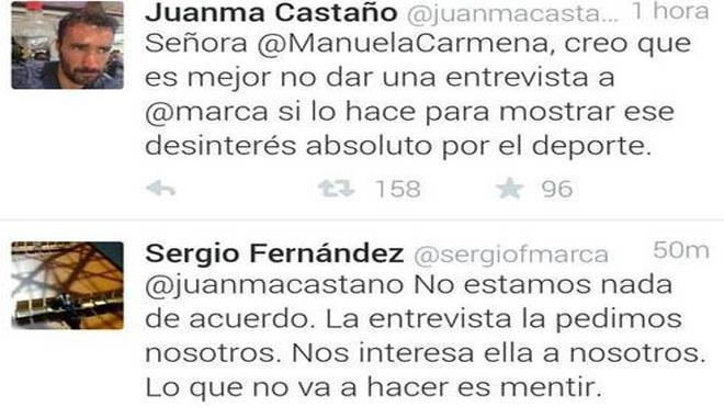"""Juanma Castaño acusa a Manuela Carmela de """"un desisterés absoluto"""" por el deporte"""""""