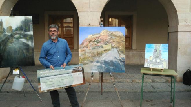 José Ignacio Amelivia, primer premio del Concurso de Pintura Rápida 'Villa de San Esteban'