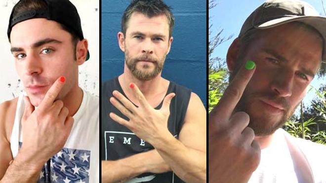 Zac Efron, Liam Hemsworth y Chris Hemsworth se pintan las uñas. ¿Por qué?